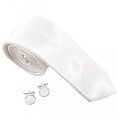 Cravate slim blanche et ses boutons