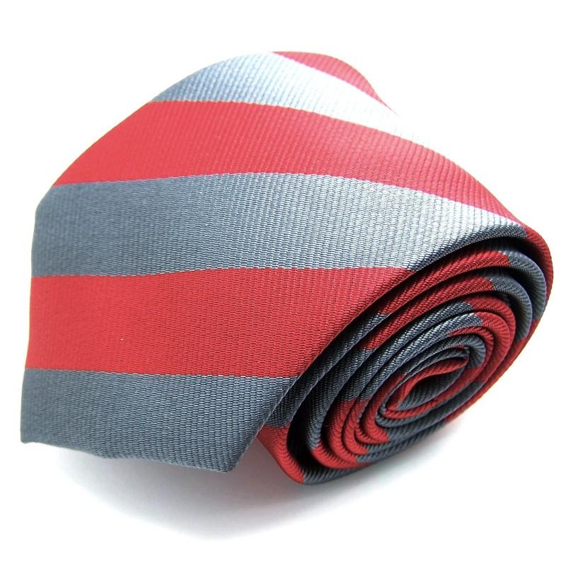 Cravate club rouge et grise, finitions main