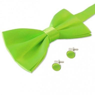 Noeud-papillon vert-intense et ses boutons