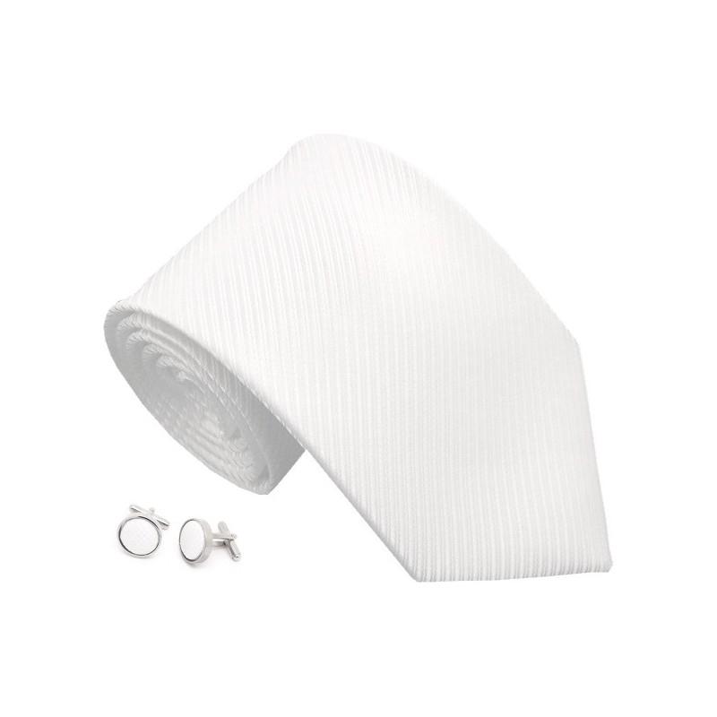 Cravate blanche et boutons de manchette assortis