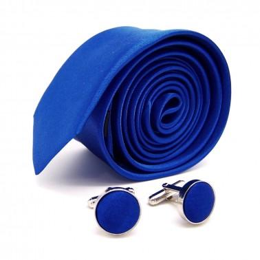 Coffret cravate slim bleu-roi et ses boutons