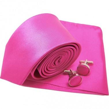 Cravate slim rose-fuchsia et accessoires