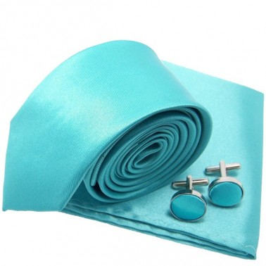 Cravate slim bleu-turquoise et accessoires