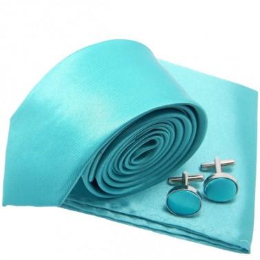 Cravate slim bleu-turquoise et accessoires