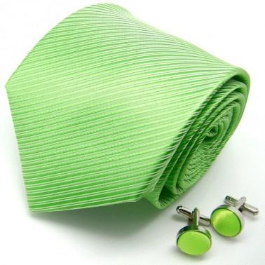 Cravate verte et boutons de manchette assortis