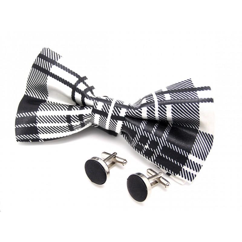 Noeud-papillon noir et blanc et ses boutons