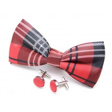 Noeud-papillon rouge écossais et ses boutons