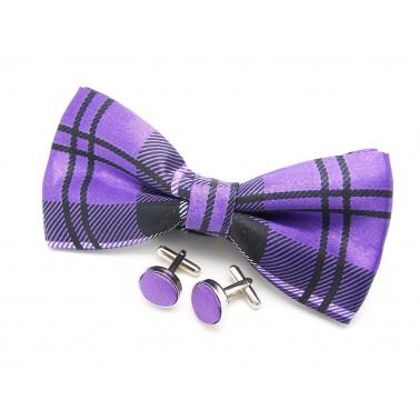 Noeud-papillon tartan violet et ses boutons