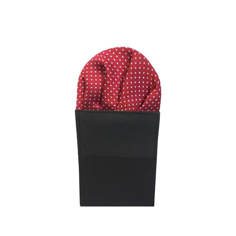 Pochette pliée rouge-bordeaux à motifs