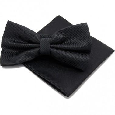 Noeud papillon et pochette, couleur noir