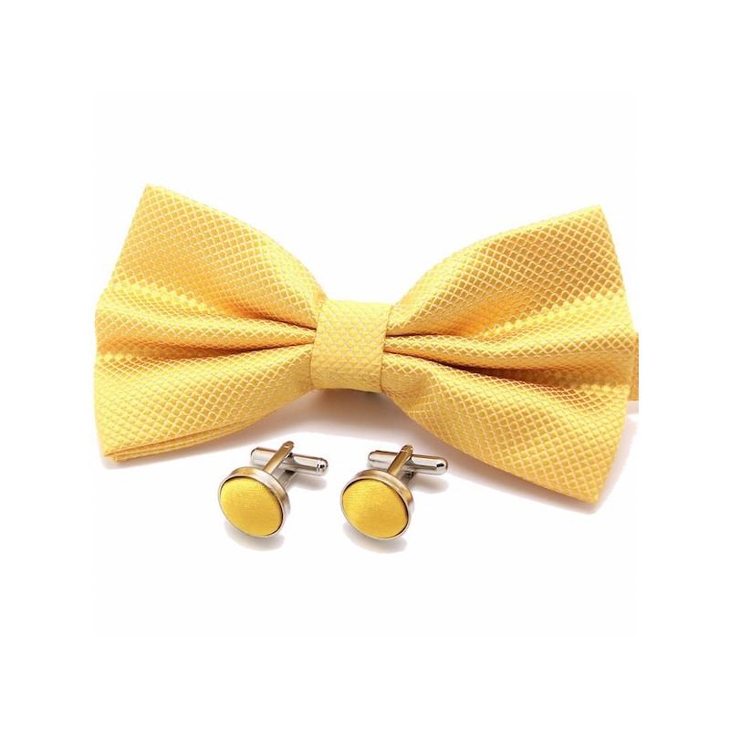 418c9b8be4afe Coffret noeud-papillon tissé de couleur jaune et ses boutons