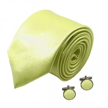 "Cravate slim et manchette ""jaune-chartreuse"""