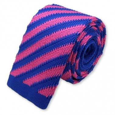 Cravate tricot rose et bleue
