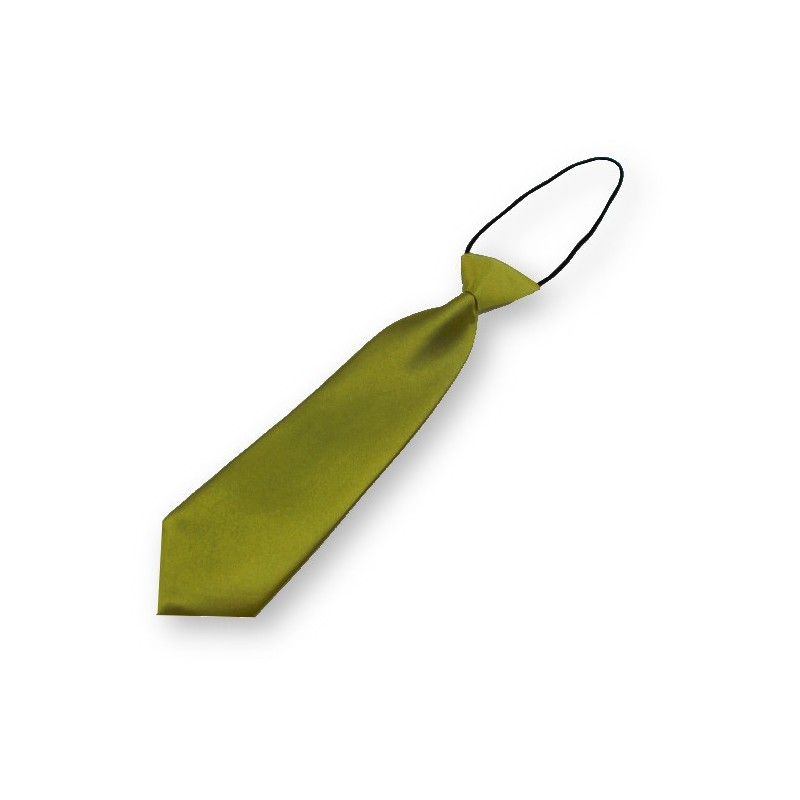 Cravate vert-olive pour enfant, finitions main
