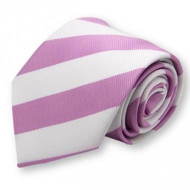 Cravate club rose et blanche, finitions main