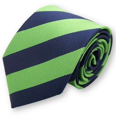 Cravate club verte et bleu-foncé, finitions main