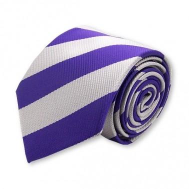 Cravate club violette et argent, finitions main
