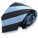Cravate club noire et bleu-acier, finitions main