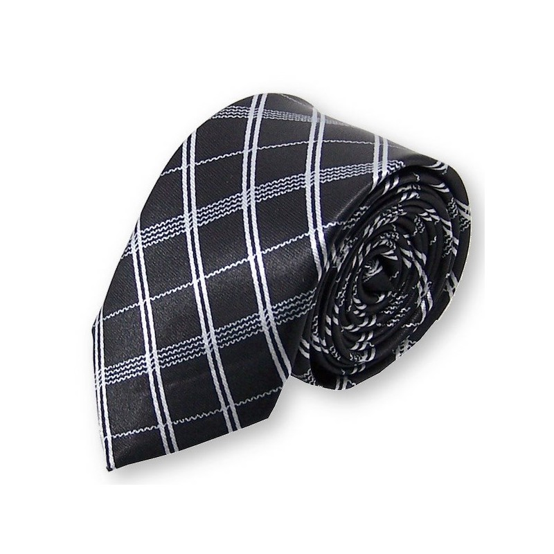 cravate fine écossaise noire et blanche