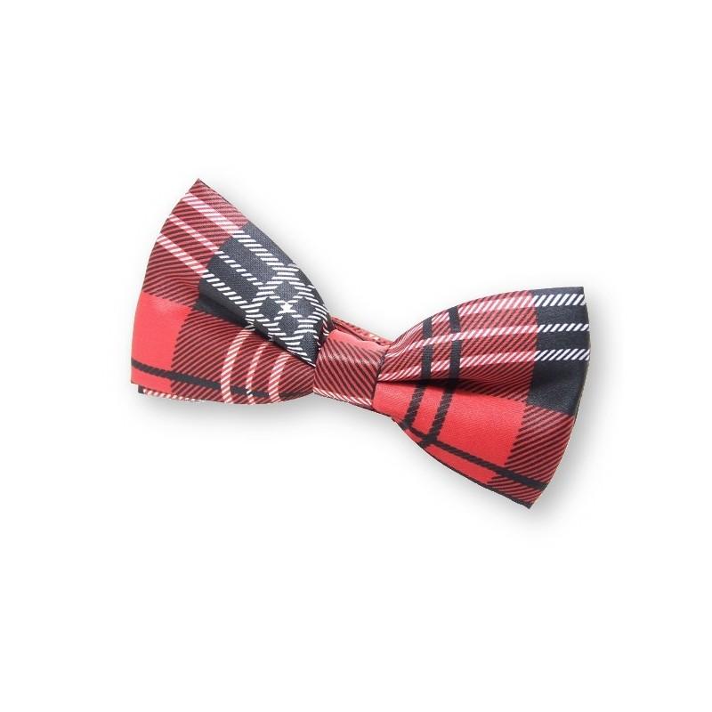Noeud papillon rouge écossais