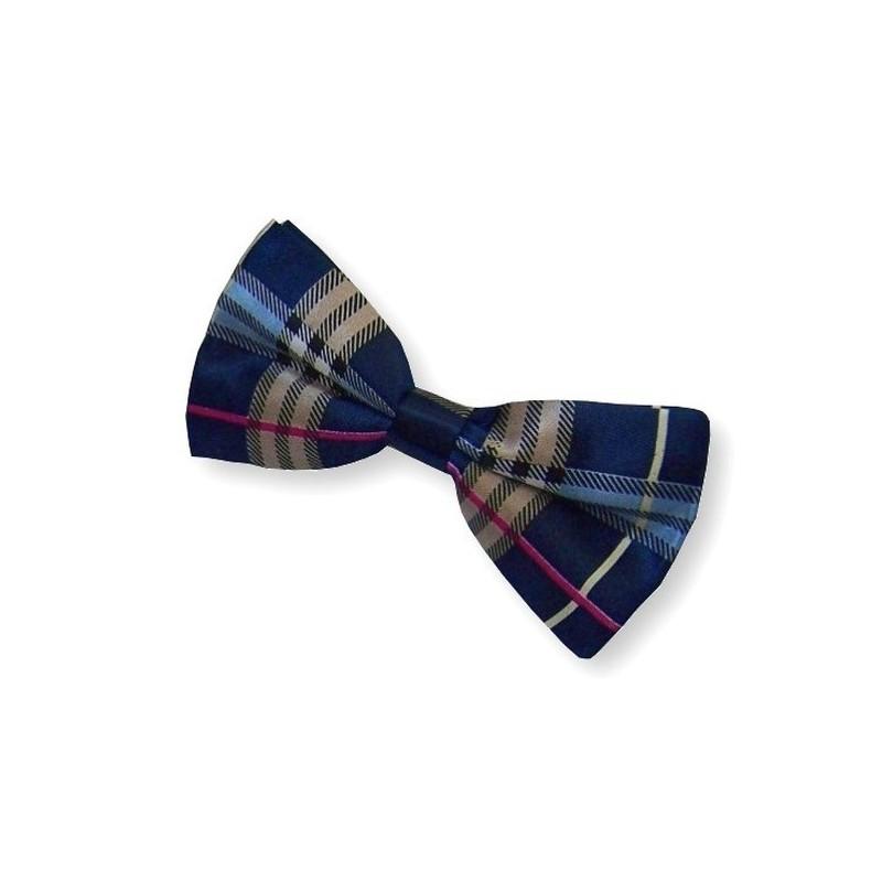 Noeud papillon bleu-marine à motifs écossais