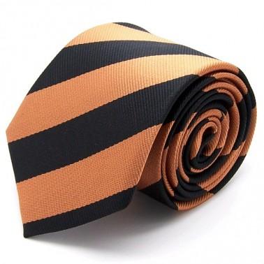 Cravate club orange et noire, finitions main