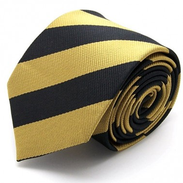 Cravate club noire et or, finitions main