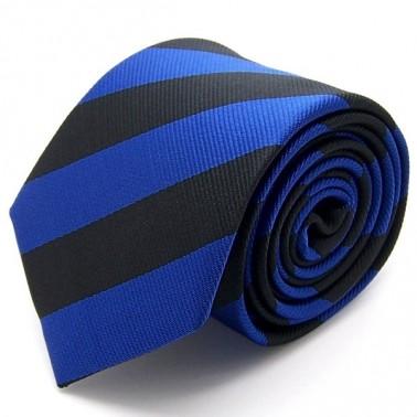 Cravate club noire et bleue, finitions main