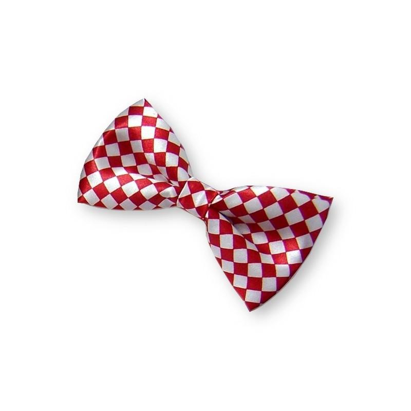 Noeud papillon rouge et blanc à petits carreaux