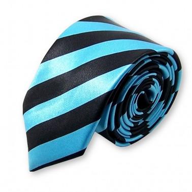 cravate slim noire et bleue