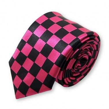 """cravate slim rose et noire """"carreaux"""""""