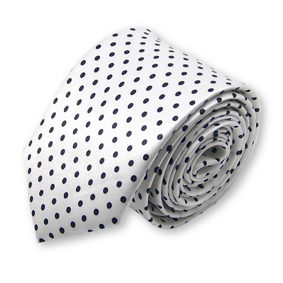 4fe0f2fdc2629 cravate fine blanche à pois - Label-Cravate