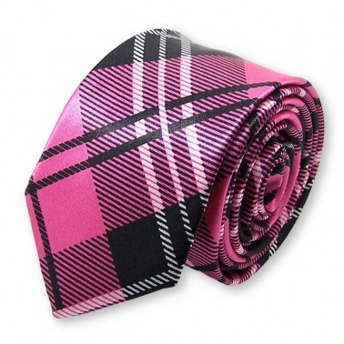 cravate fine écossaise rose