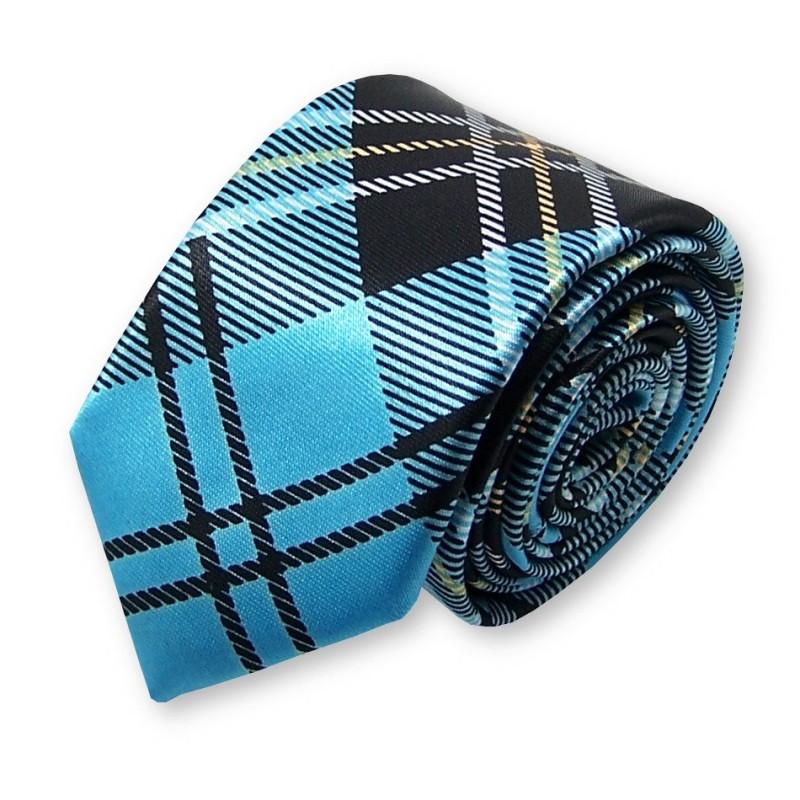 cravate slim écossaise turquoise