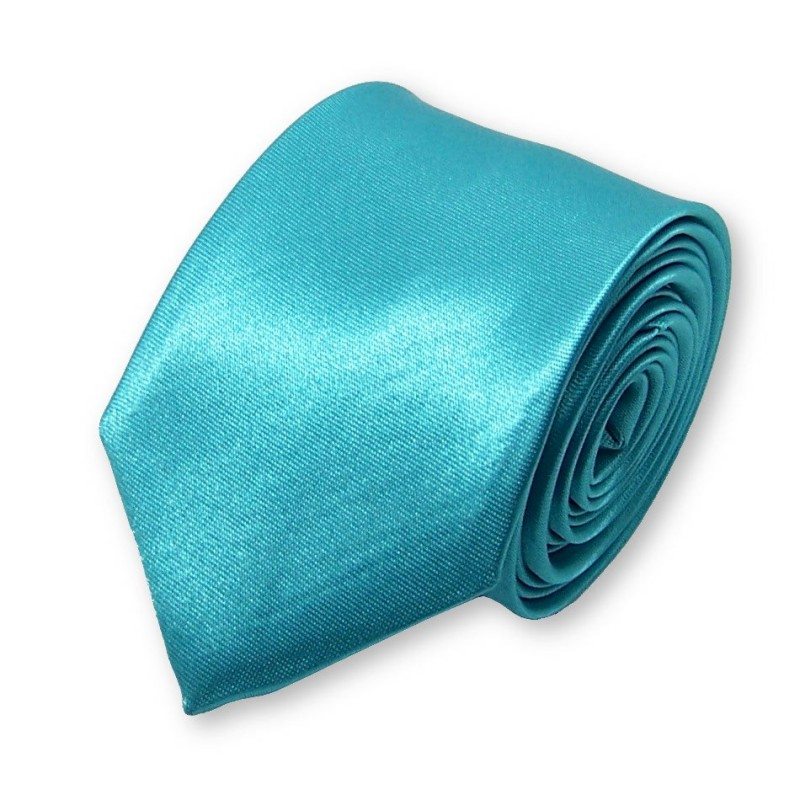 cravate etroite unie couleur turquoise