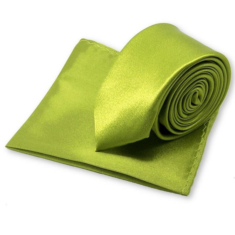 Cravate slim vert-olive et sa pochette