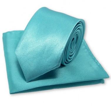 cravate slim turquoise et sa pochette