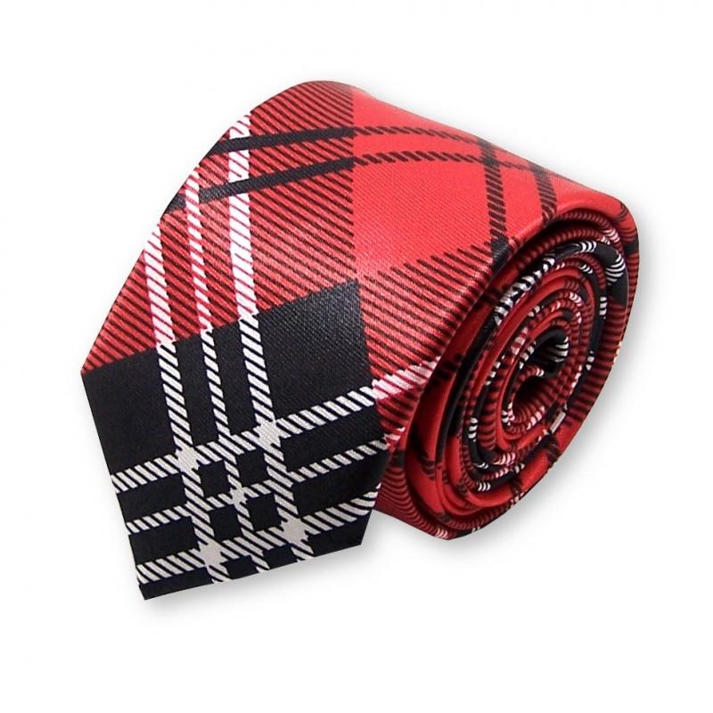 cravate étroite écossaise rouge et noire