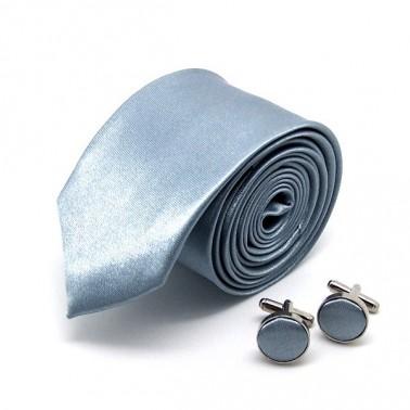 Cravate slim grise et ses boutons