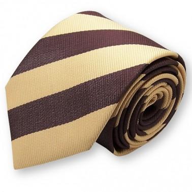 Cravate club marron et jaune
