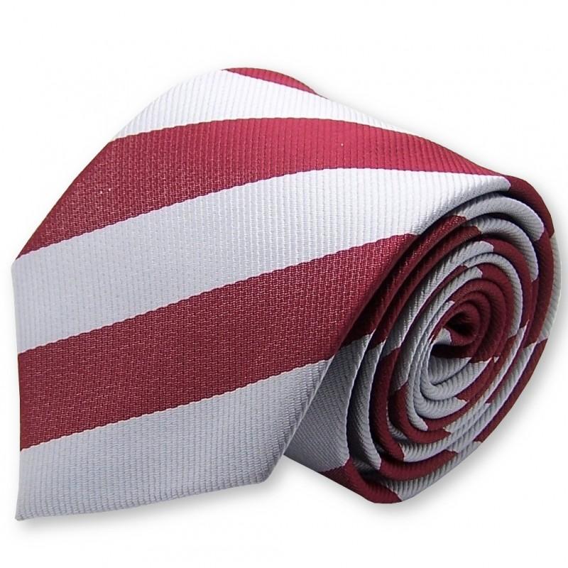 Cravate club rouge et argent