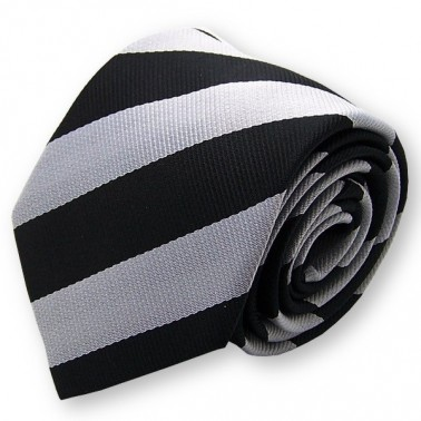 Cravate club noire et argent