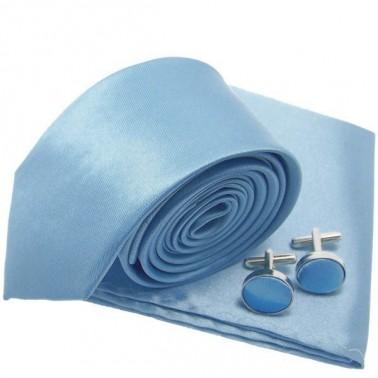 Cravate slim bleu-ciel, pochette et boutons de manchette