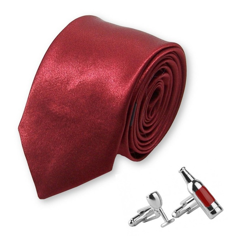achat spécial une grande variété de modèles bons plans 2017 cravate slim et manchettes à l'effigie du vin rouge de Bordeaux