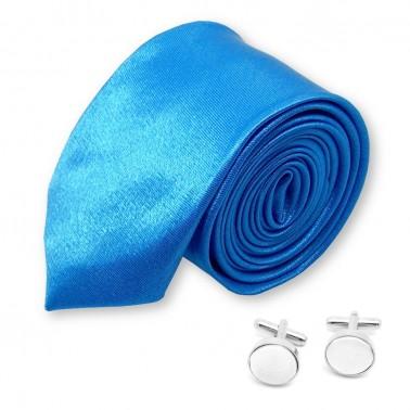 """Cravate slim """"bleu-électrique"""" et ses boutons"""