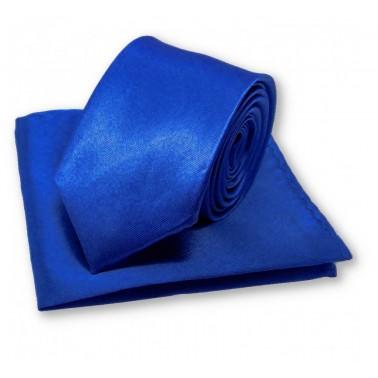 Cravate slim bleu-roi et sa pochette