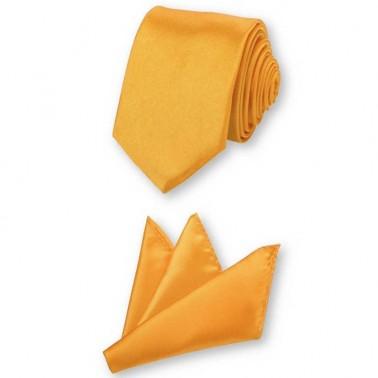 Cravate slim jaune-or et sa pochette