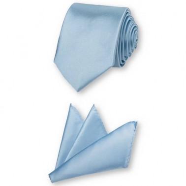 Cravate fine bleu-ciel et sa pochette