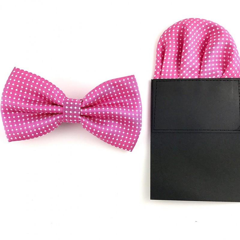 répliques super qualité bonne vente de chaussures Noeud-papillon noué fuchsia à pois et sa pochette de veste pliée