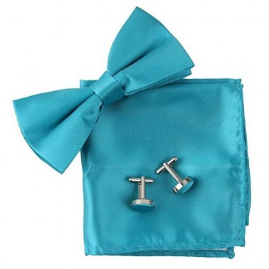 Noeud papillon turquoise, pochette et boutons